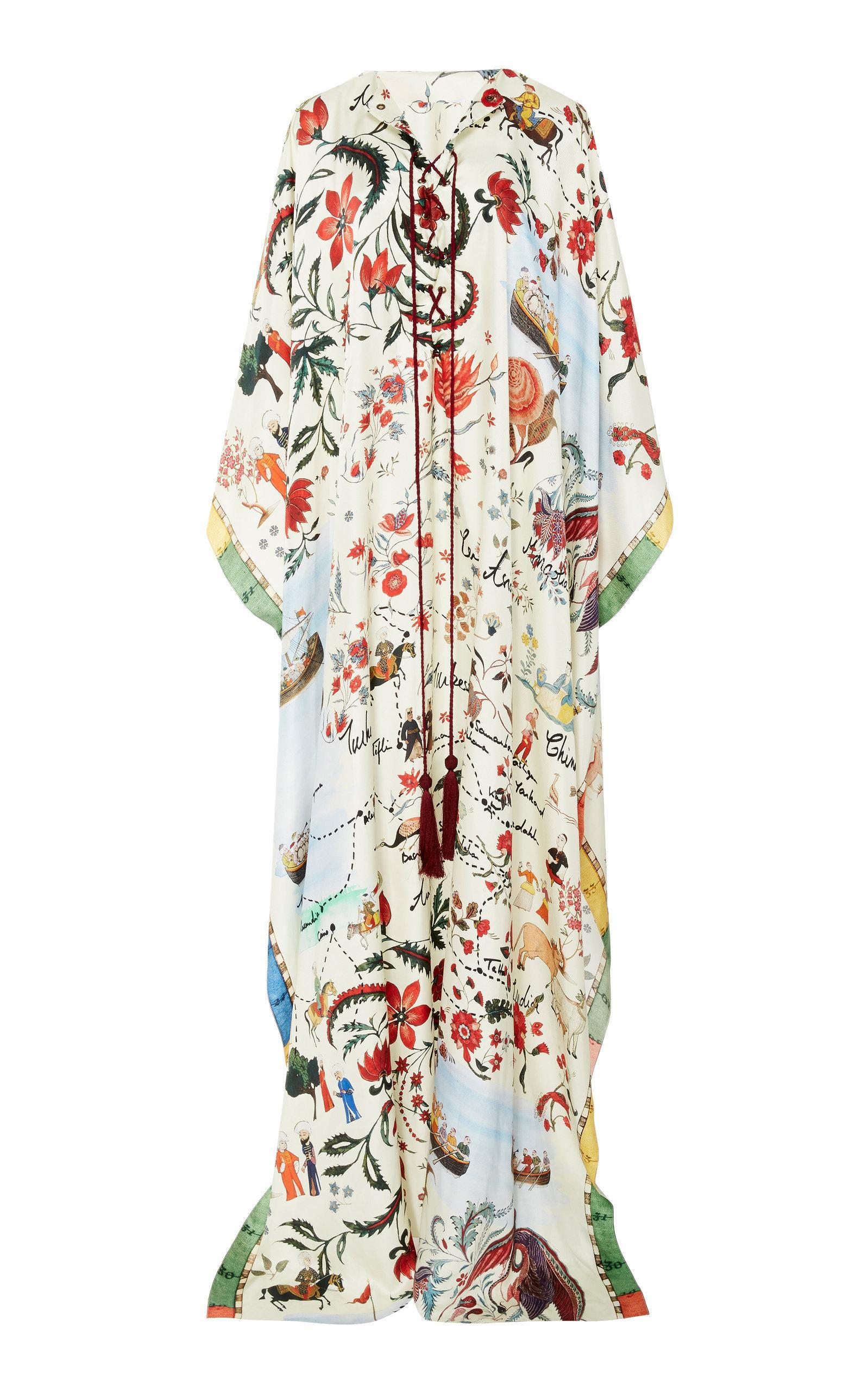 Oscar De La Renta Printed Silk Satin Kaftan In Multi