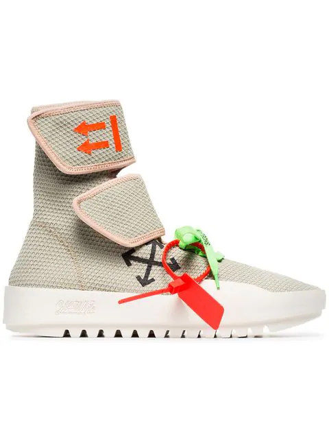 Off-White Men's Moto Wrap High-Top Knit Sneakers In Light Gray