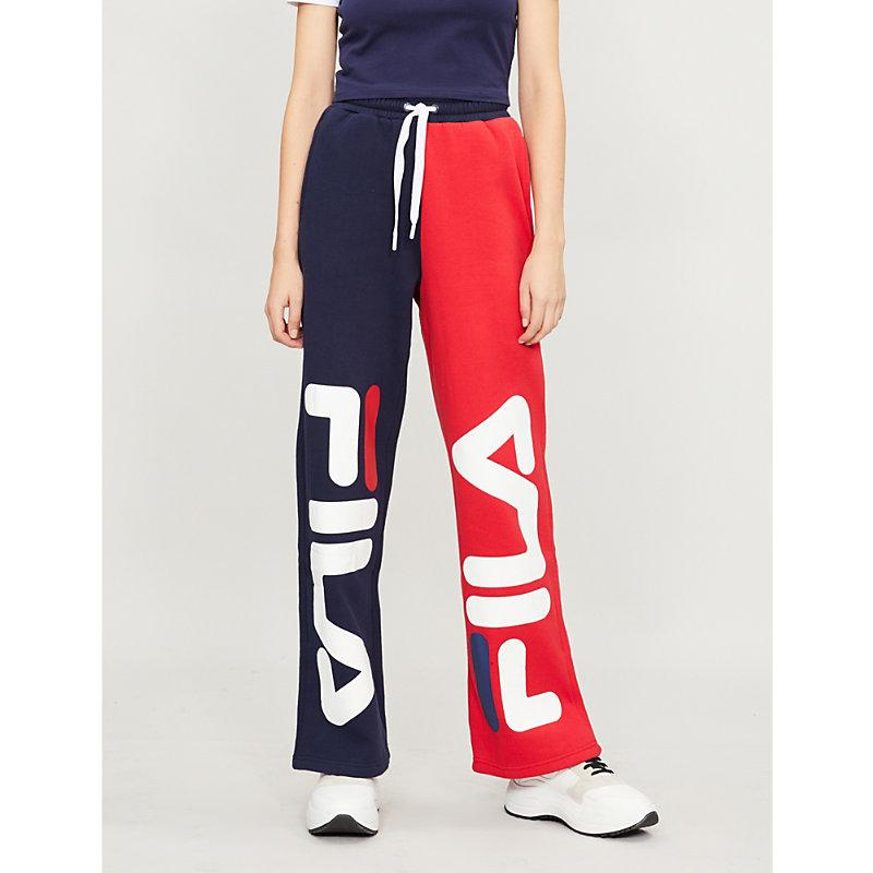 f482601487bf Fila Barbara Logo-Print Cotton-Blend Jogging Bottoms In Peacoat/Chinese Red