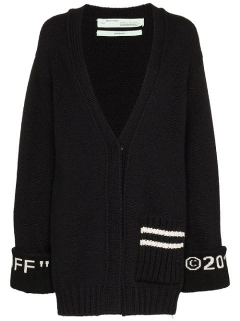 Off-white Oversized Intarsia Wool-blend Cardigan In Black