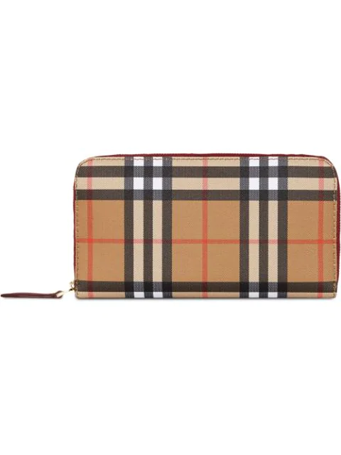 Burberry Women's Wallet Leather Coin Case Holder Purse Card Bifold Ellerby Vintage Check In Neutrals