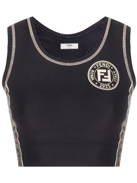 Fendi Cutout Jacquard-trimmed Stretch Sports Bra In Black