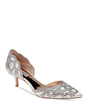 1a0b051f12 Badgley Mischka Ginny Embellished D'Orsay Pointed Toe Pumps In Ivory ...