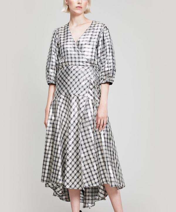 33322597 Ganni Silver Check Lagarde Metallic Silk-Blend Dress | ModeSens