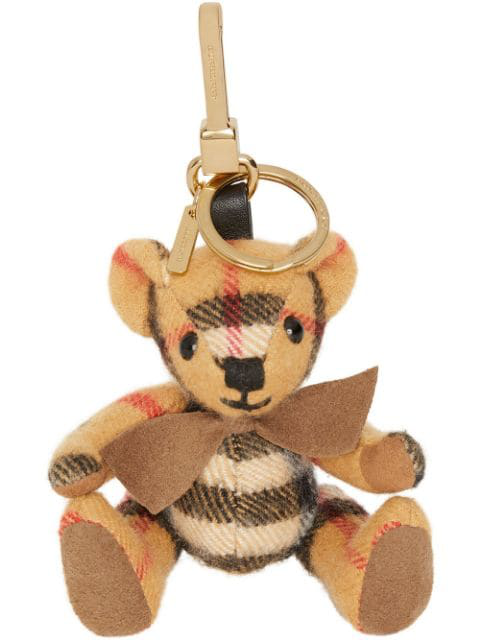Burberry Beige Cashmere Vintage Check Thomas Bear Keychain In Yellow