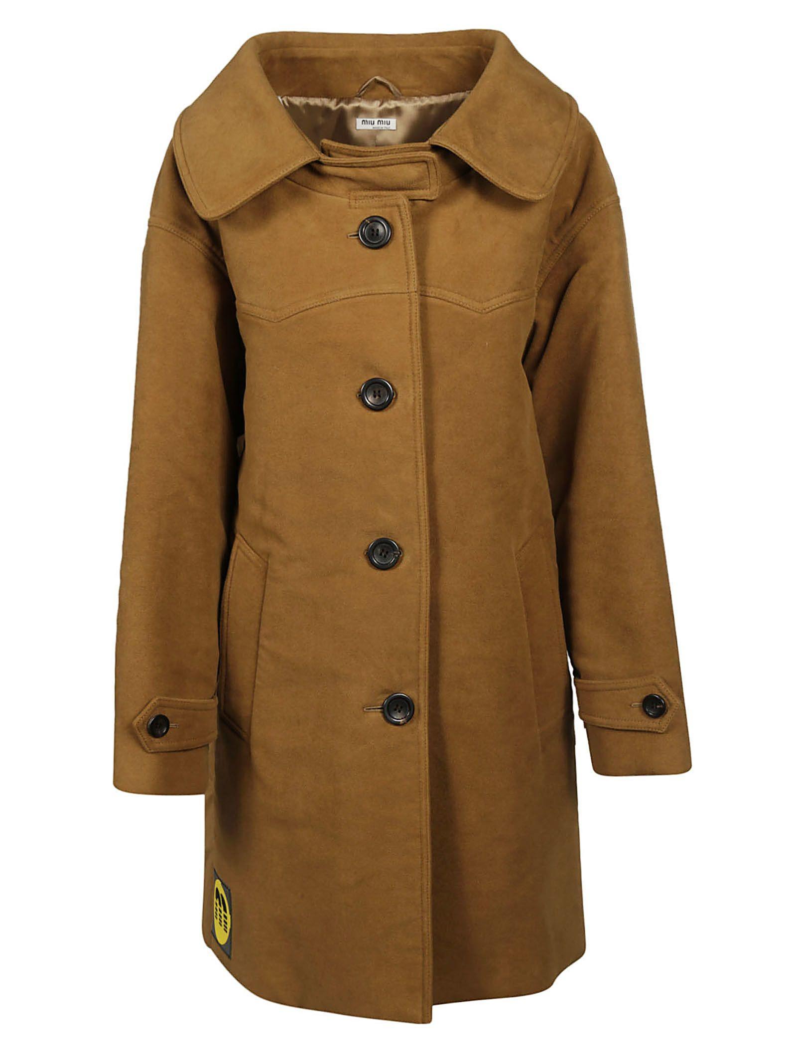 9358b6831c8 Miu Miu Moleskin Coat In Brown