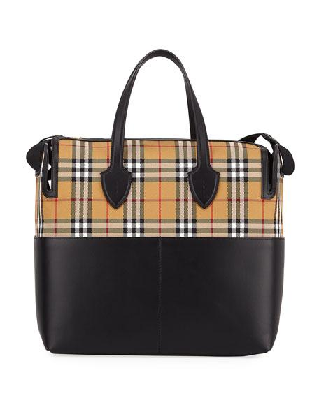 Burberry Kingswood Vintage Check & Leather Diaper Bag In Black