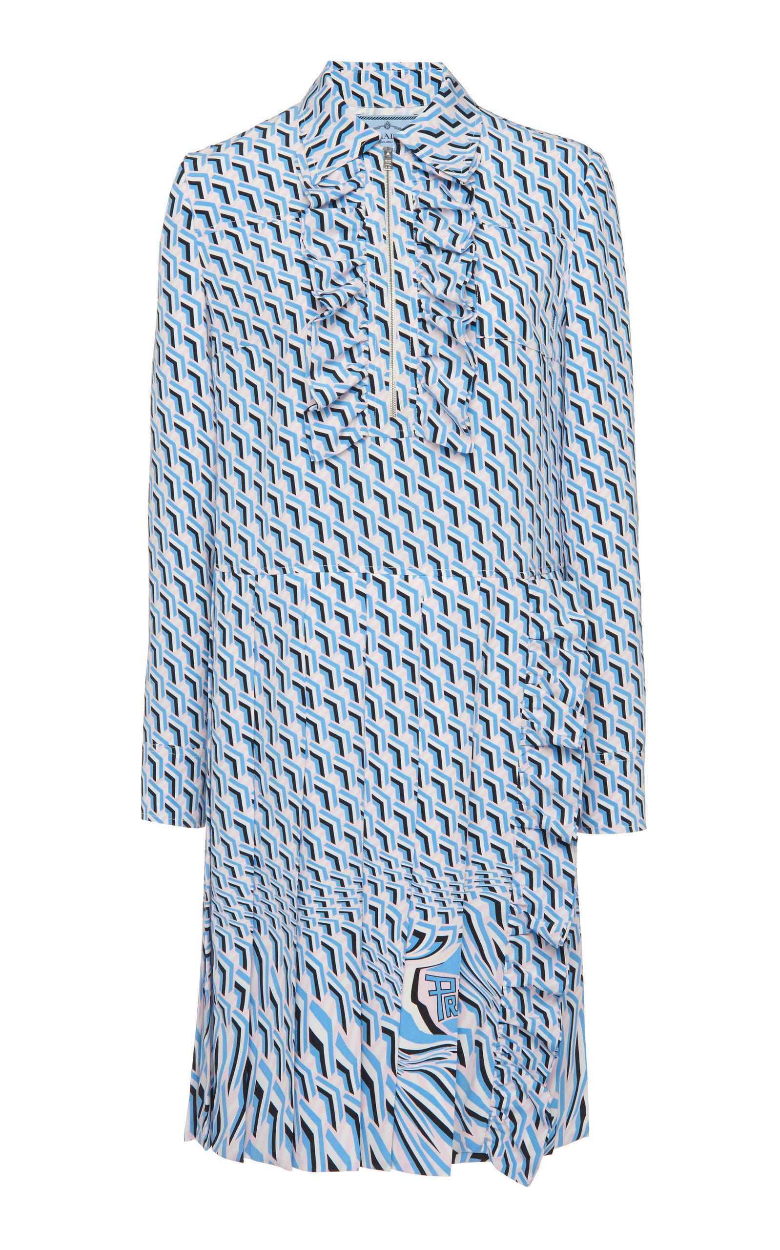 Prada Argyle Print Silk Crepe De Chine Dress In Blue