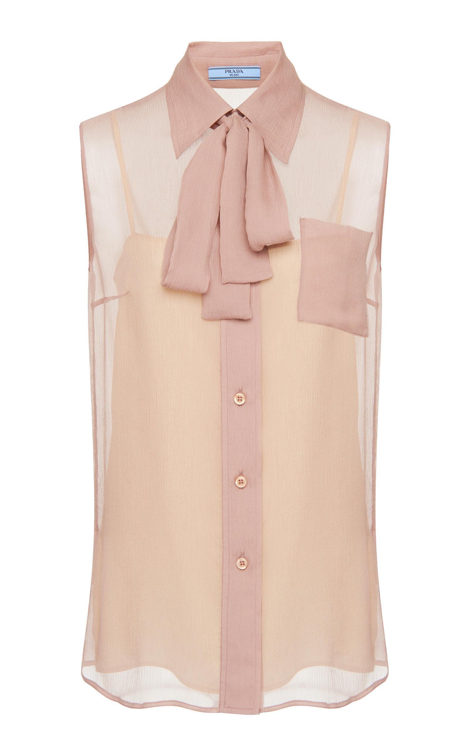 Prada Chiffon Sleeveless Shirt With Pussy Bow In Pink