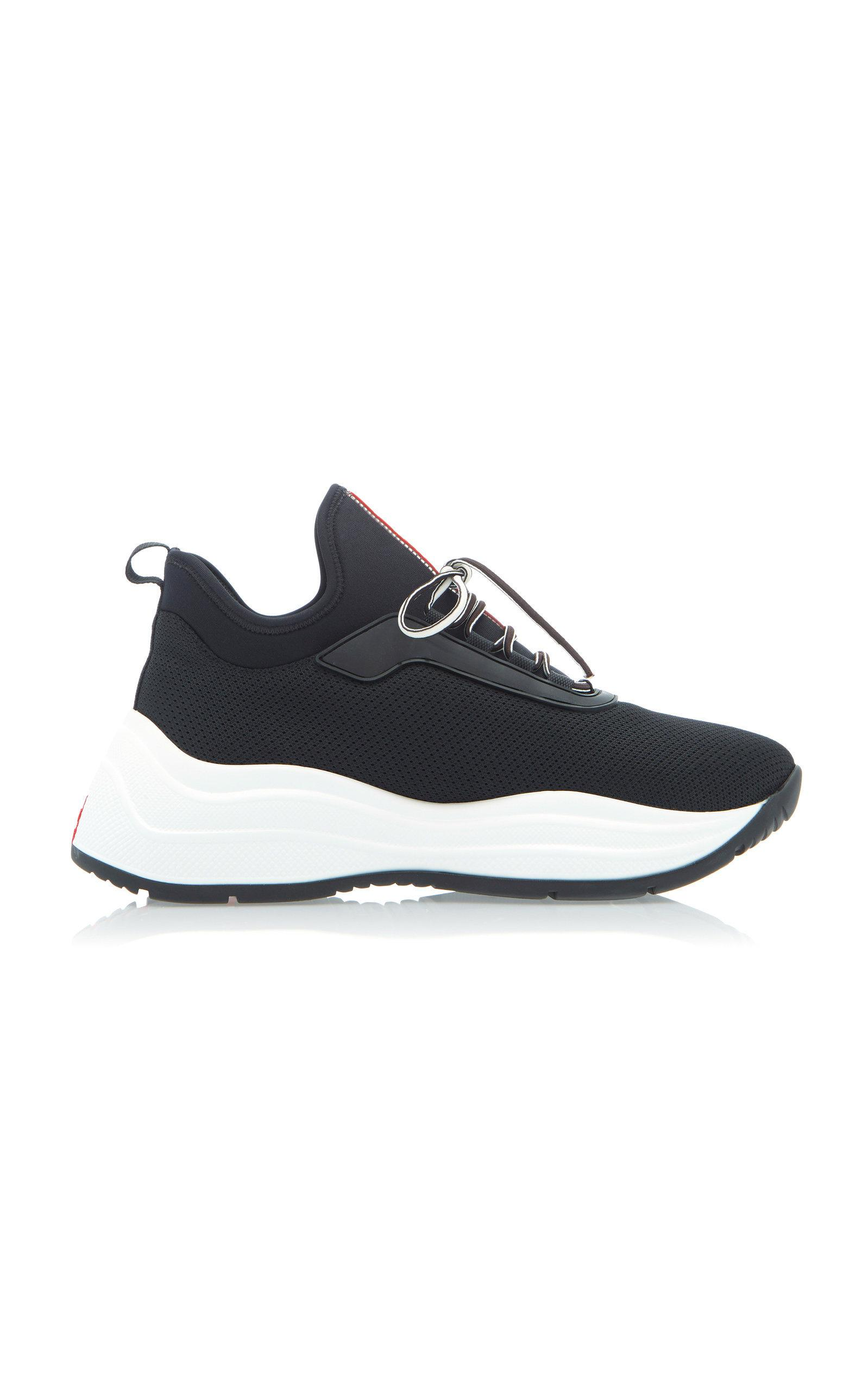 Prada America's Cup Mesh And Leather Trainers In Black