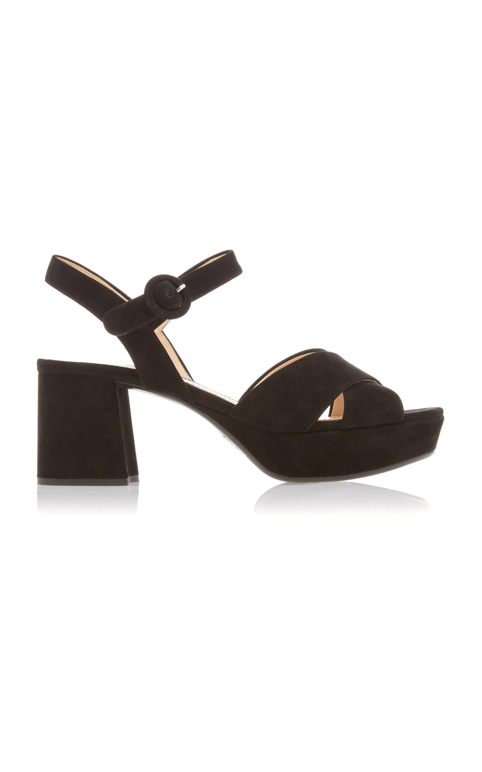 Prada Crossover-strap Suede Platform Sandals In Black