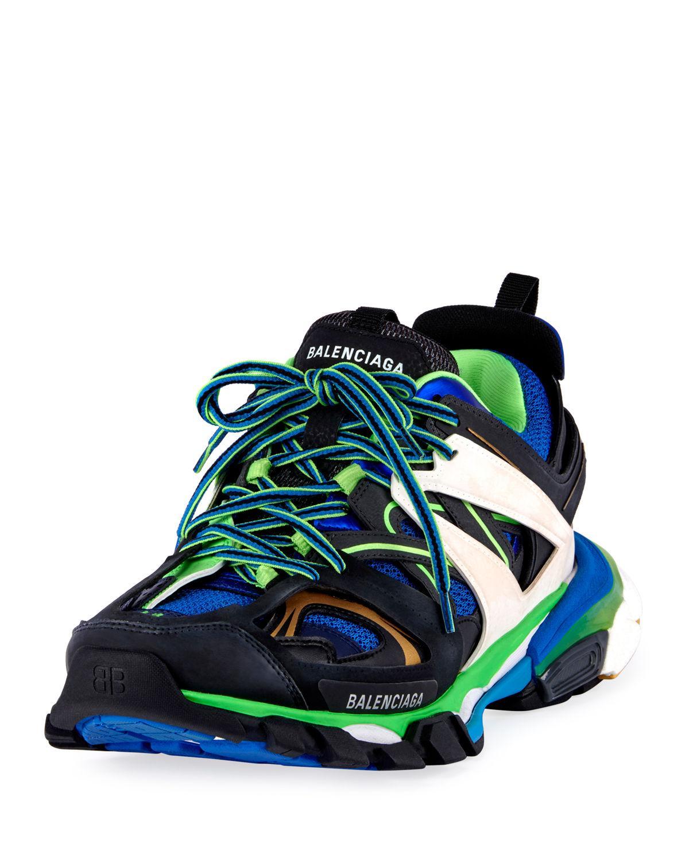 Balenciaga Men's Runway Track Sneakers, Blue/green In  Multicoloured