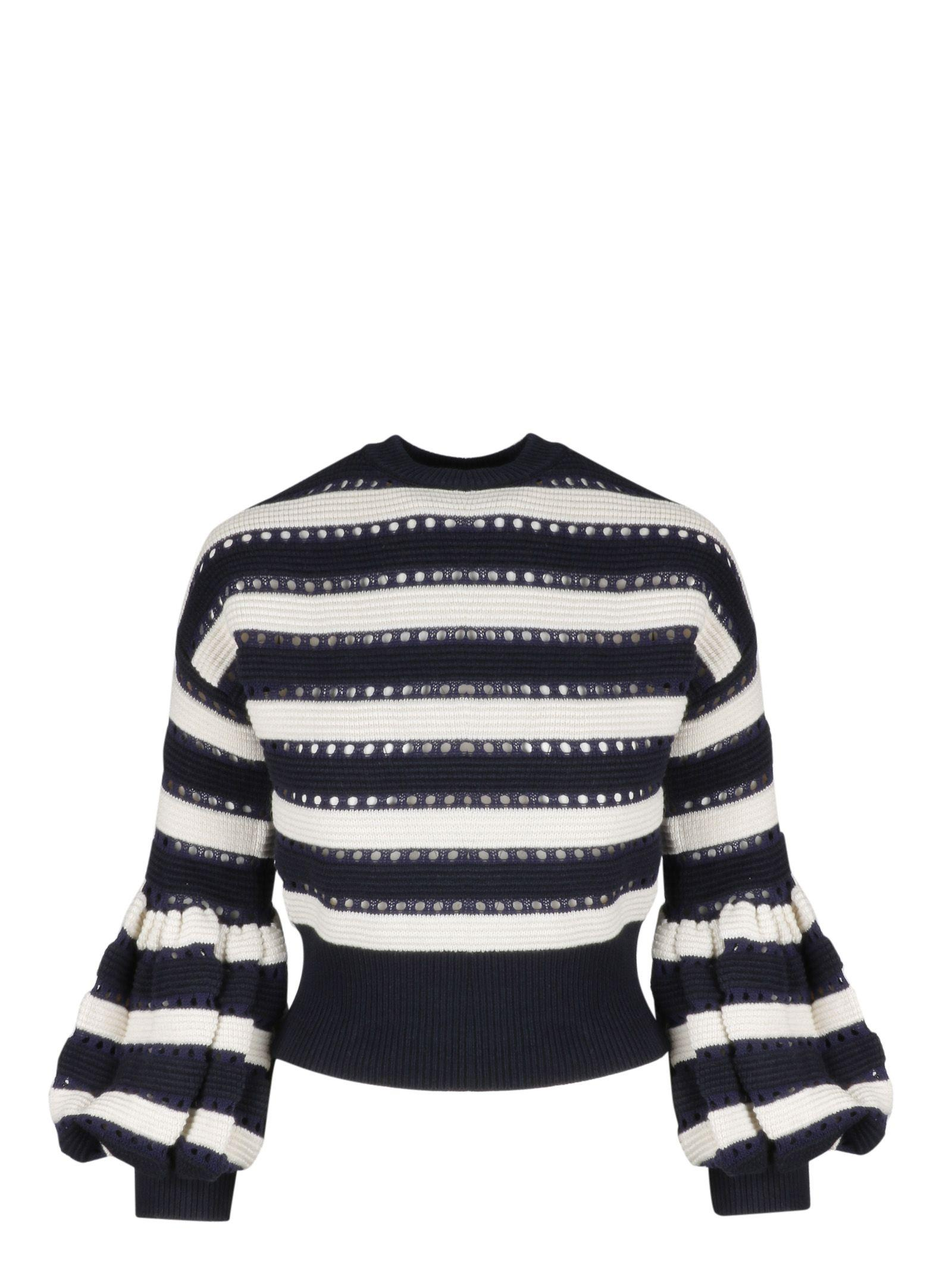4390630849b8 Self-Portrait Striped Open-Knit Cotton And Wool-Blend Sweater In Navy