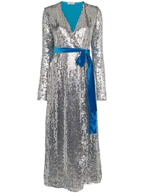 Attico Wrap-Effect Paneled Sequined Crepe And Velvet Midi Dress In Silver