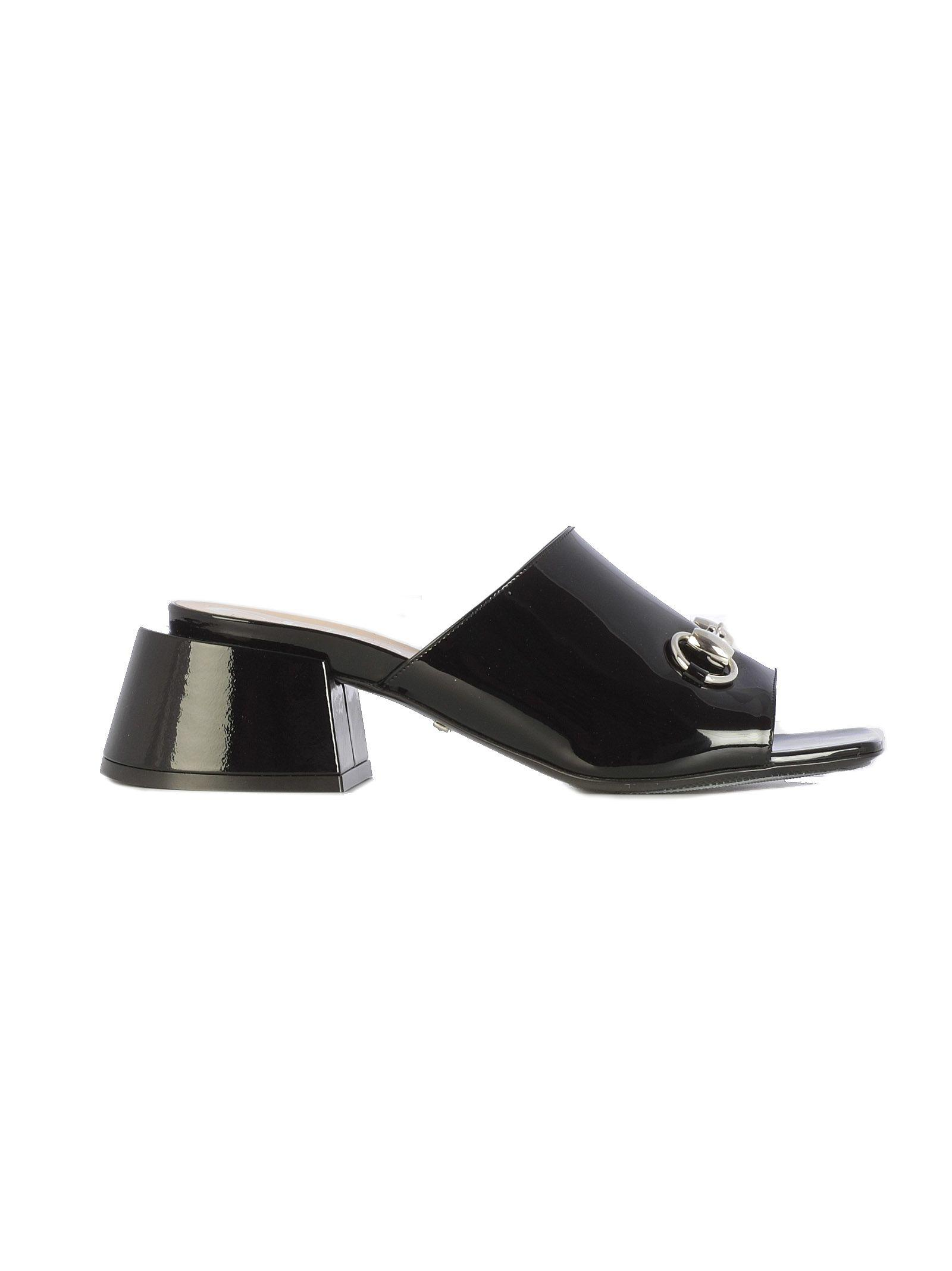 8ed8da7a166 Gucci Horsebit-Detailed Patent-Leather Mules In Black
