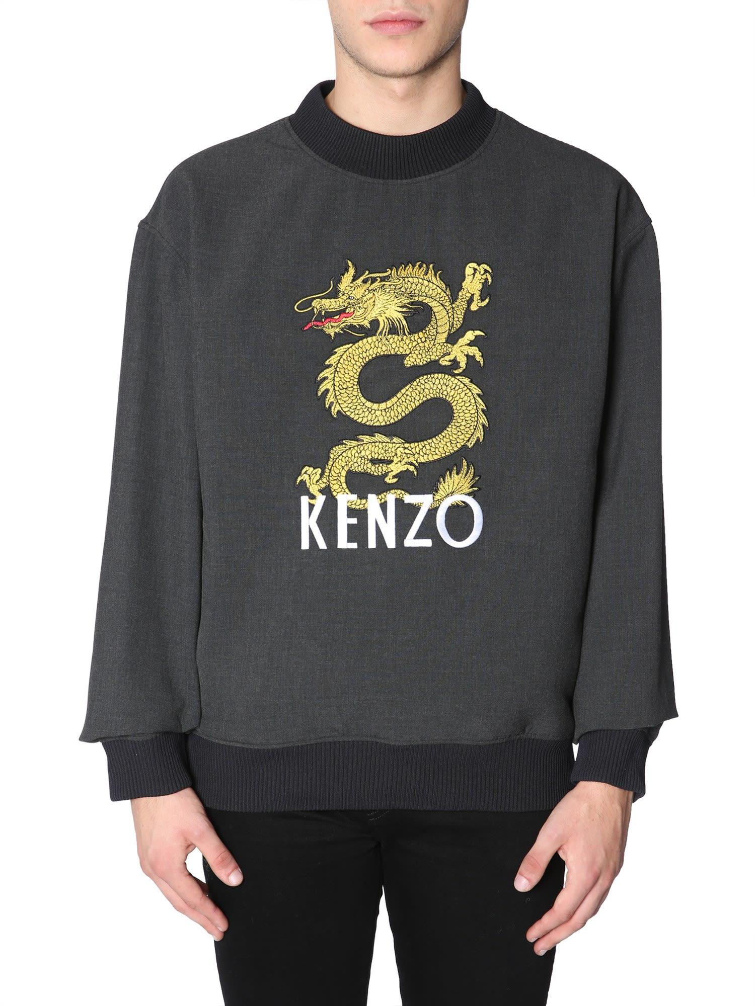 63d4bcfc Kenzo Dragon-Embroidered Stretch-Jersey Sweatshirt In Grey | ModeSens
