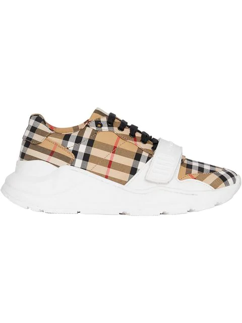 Burberry White, Yellow And Black Vintage Check Cotton Sneakers In Beige