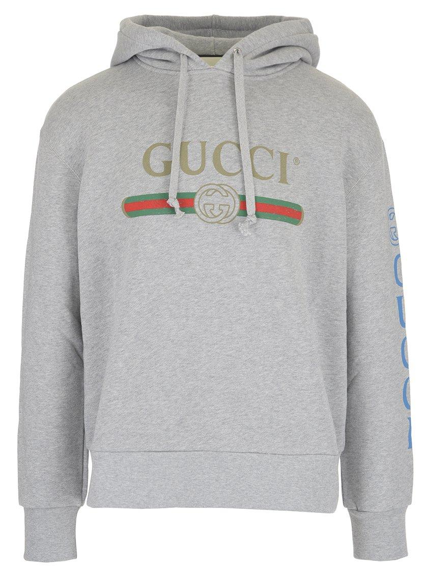 025de45bff0 Gucci Dragon-Embroidered Cotton French Terry Hoodie In Grey