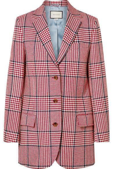 Gucci 格纹羊毛混纺西装式外套 In Red