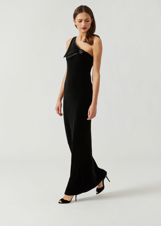 331937bf045 Emporio Armani One-Shoulder Velvet Jersey Column Evening Gown W  Satin Trim  In Black
