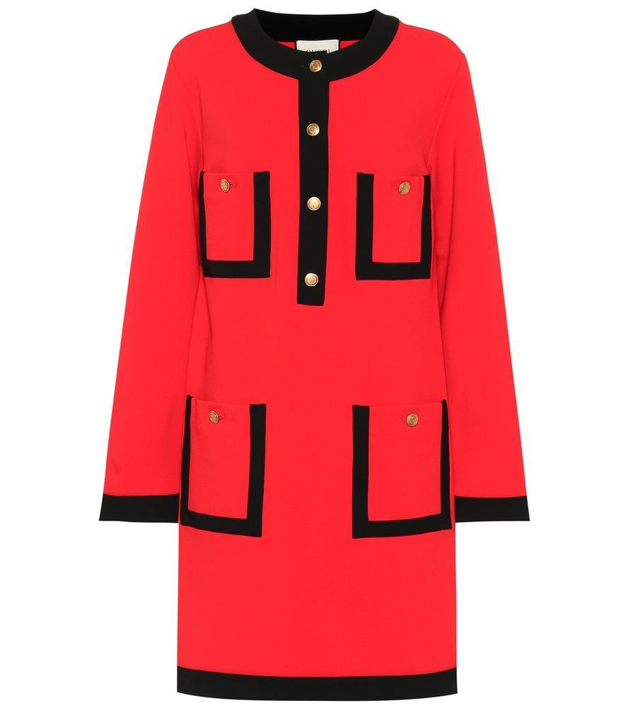 Gucci Velvet-Trimmed Jersey Dress In Red