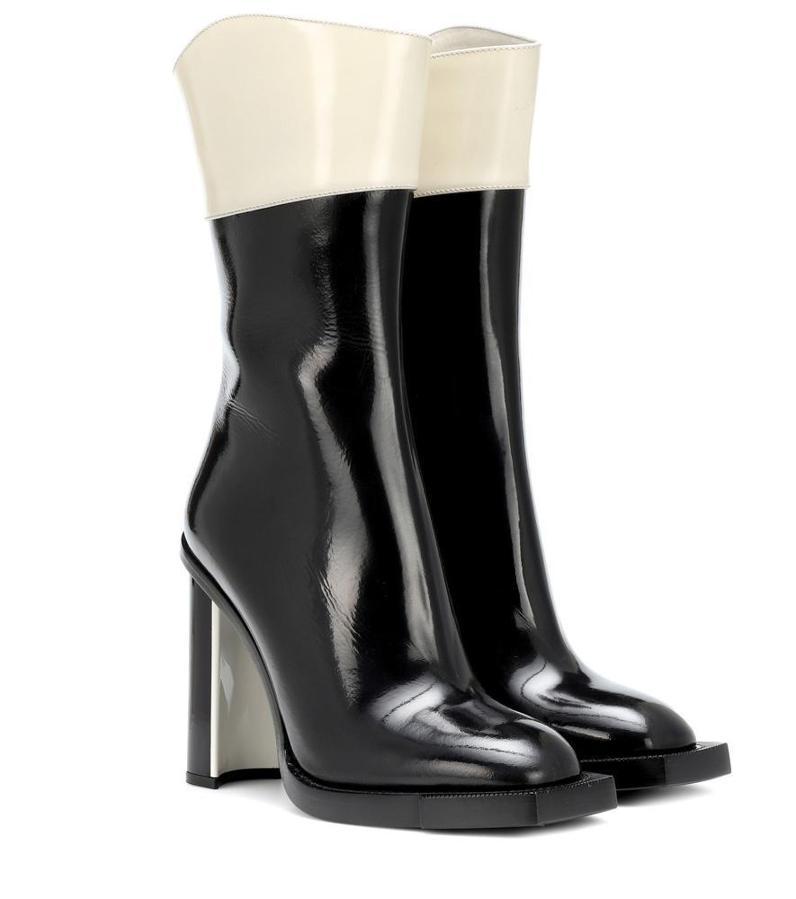 3d565520c4cf Alexander Mcqueen Two-Tone Tall Booties In Black