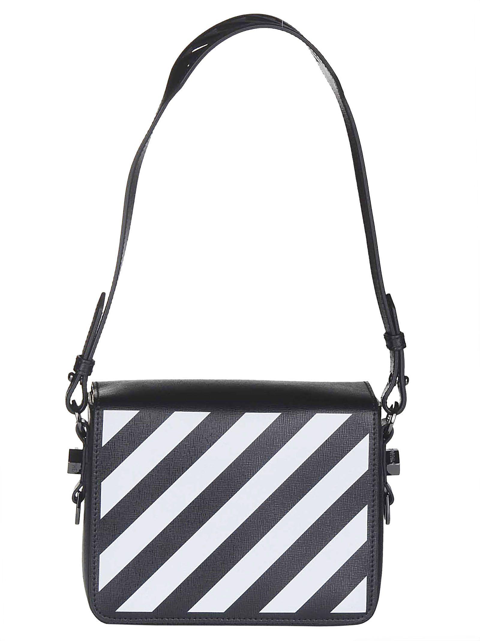 f32eaebe3d Shop Off-White Diagonal Striped Shoulder Bag In Black White