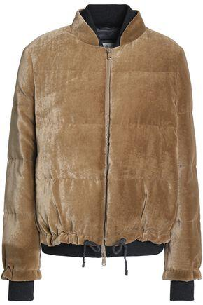 Brunello Cucinelli Woman Quilted Velvet Bomber Jacket Mushroom