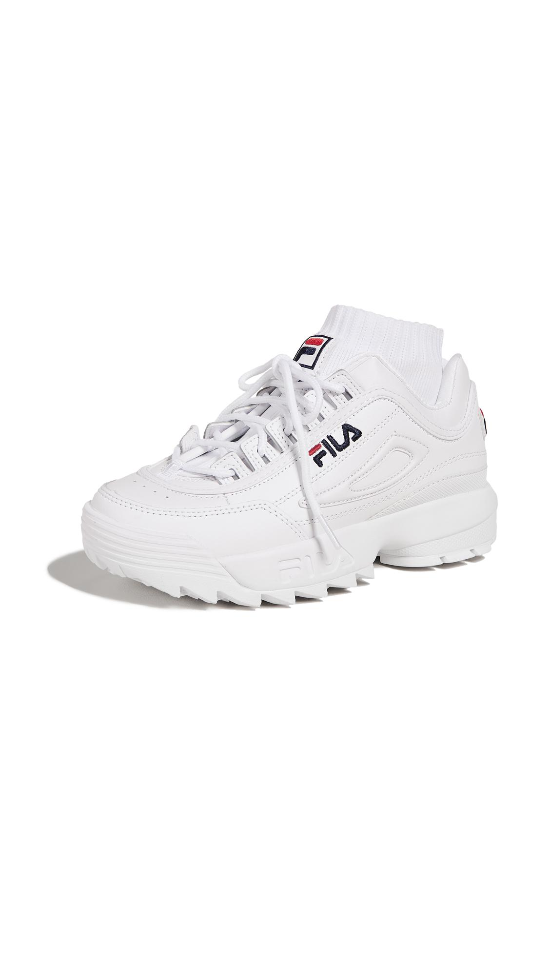 aa71b44e22b6 Fila Women s Disruptor Ii Premium Lace Up Leather Dad Sneakers In White