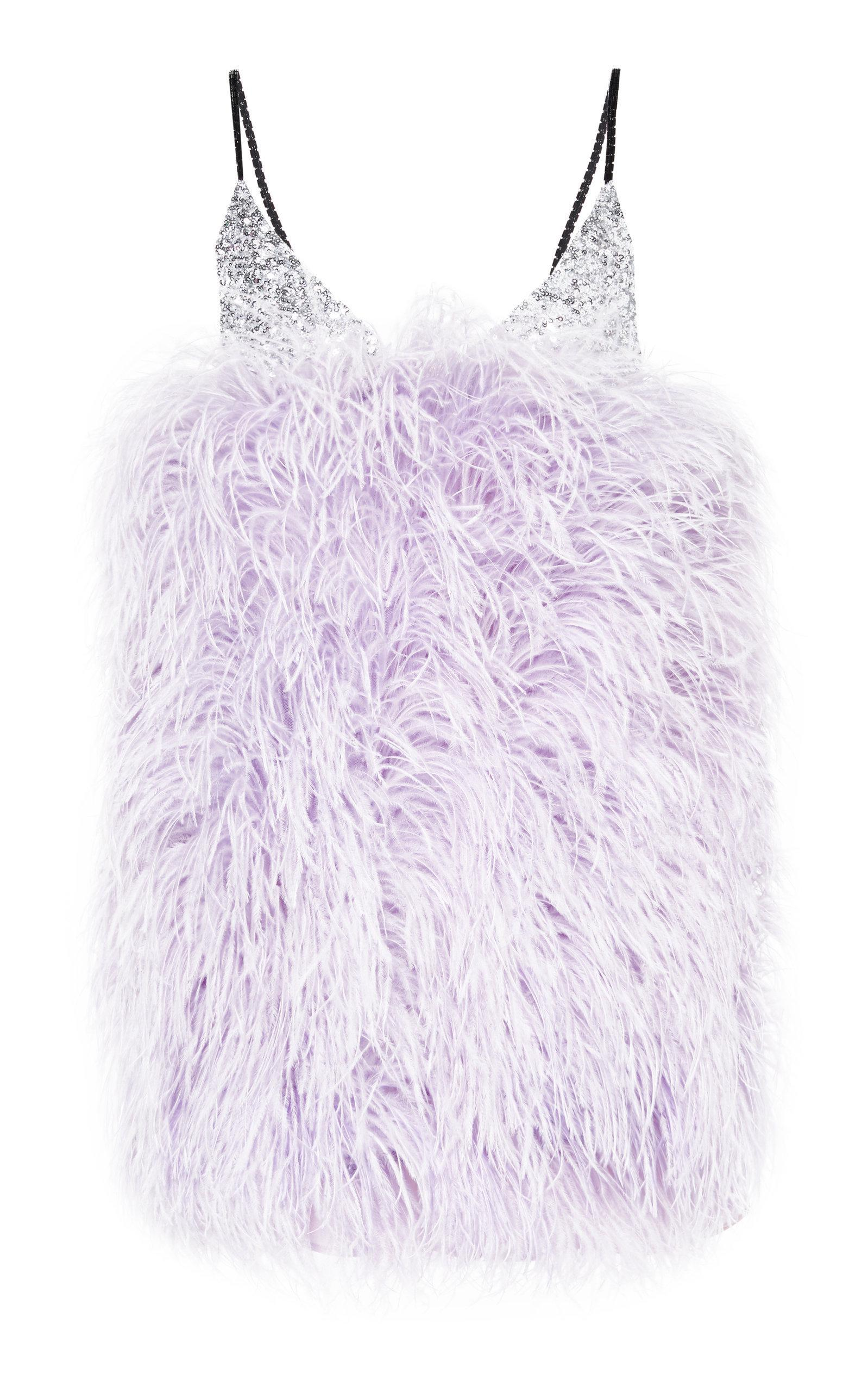 0e362b97e6aa6 Attico Sequin-Embellished Feather Mini Dress In Purple | ModeSens