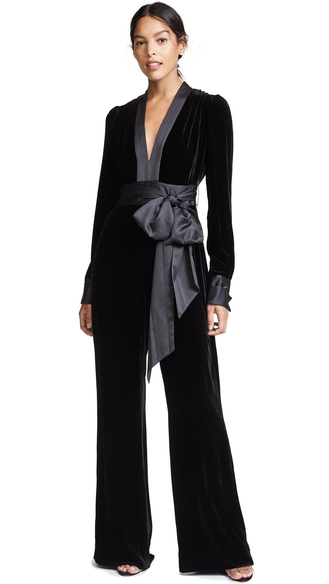 f8b2d3edacc Diane Von Furstenberg Velvet Long-Sleeve V-Neck Jumpsuit W  Sash In Black