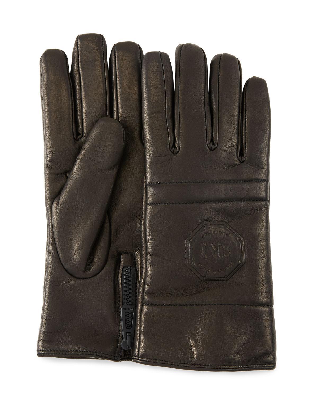 Stefano Ricci Men's Logo-Embossed Lambskin Gloves In Black