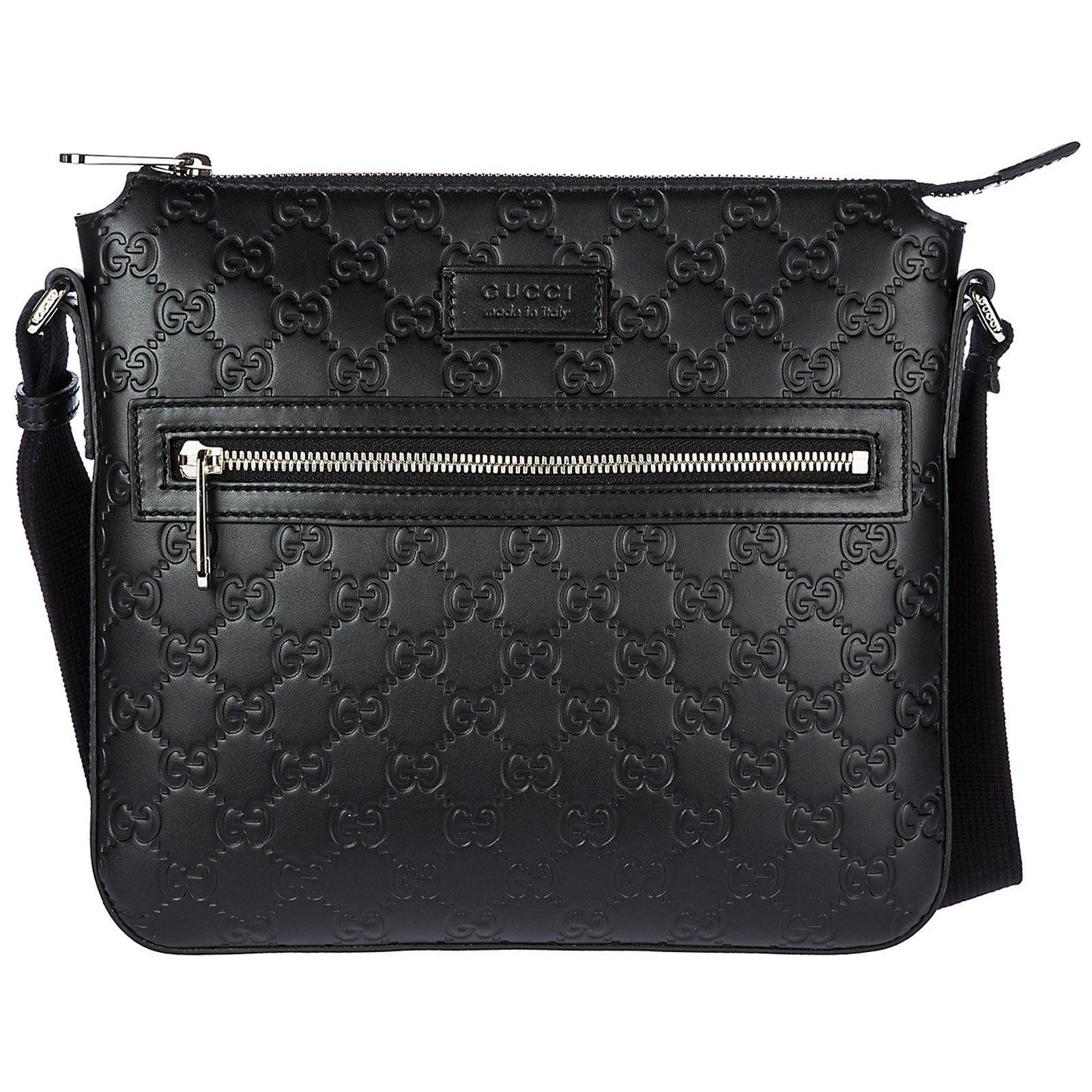 43a0861657d Gucci Signature Embossed Messenger Bag In Black Signature. CETTIRE