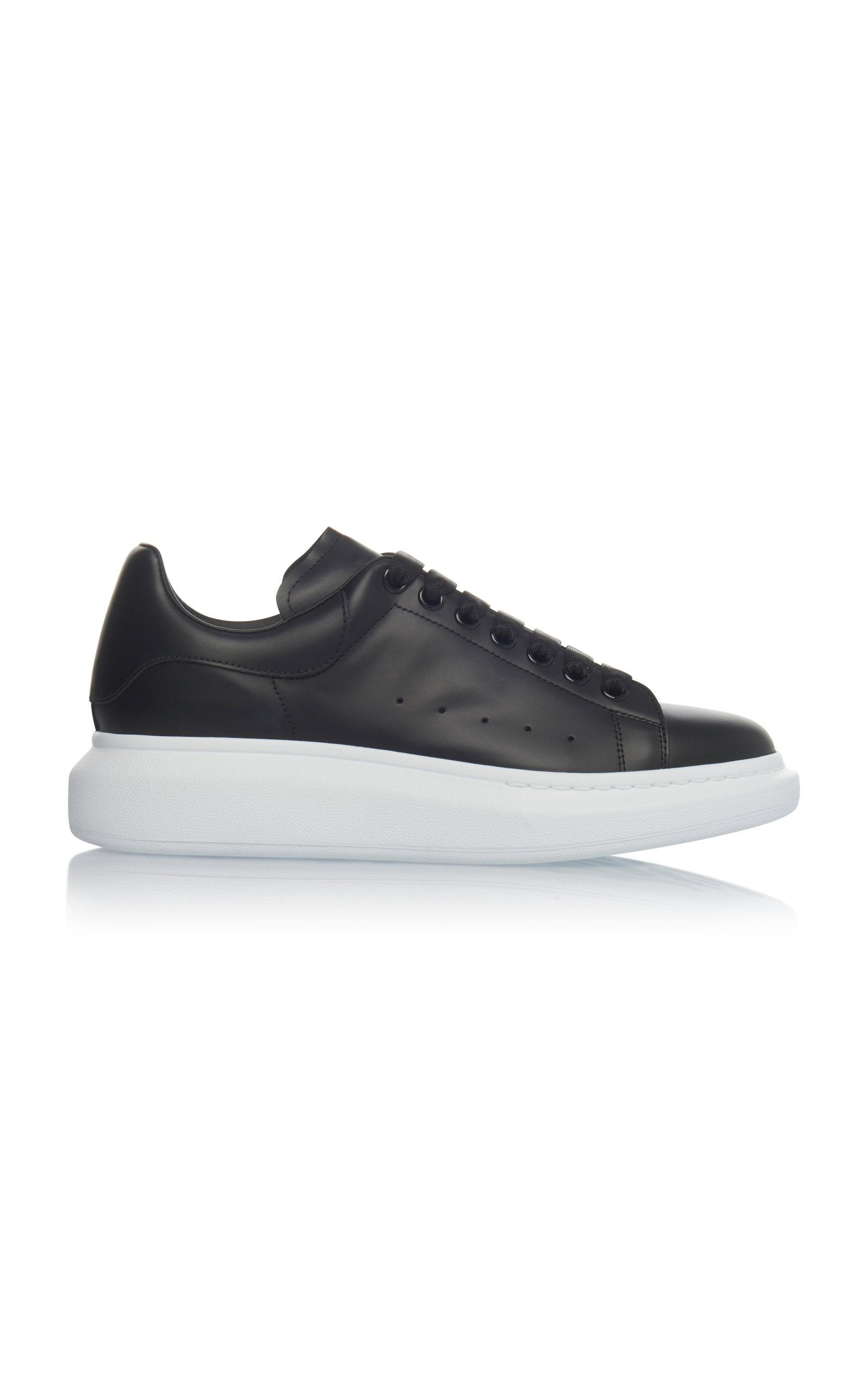 8c85ae35cbab Alexander Mcqueen Mens Black And White Show Leather Platform Trainers