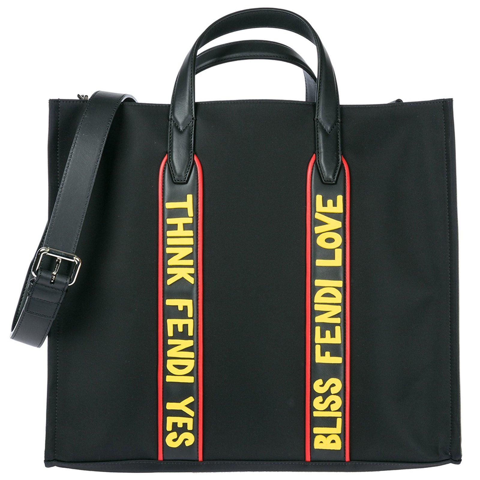 4f2ff64bb02 Fendi Men s Vocabulary Nylon   Leather Tote Bag In Black