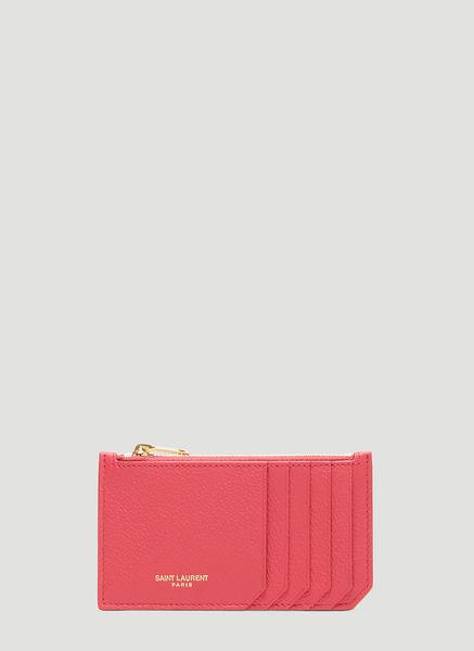 Saint Laurent Fragments Zip Pouch Purse In Pink In Red