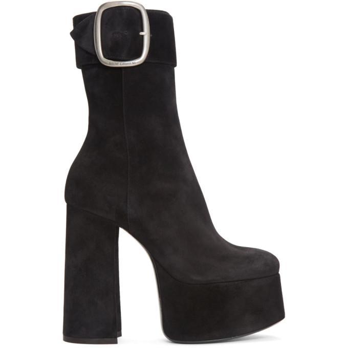 a3e8d152ce87 Saint Laurent Black Suede Billy Platform Boots. SSENSE. 1595Login to see  price