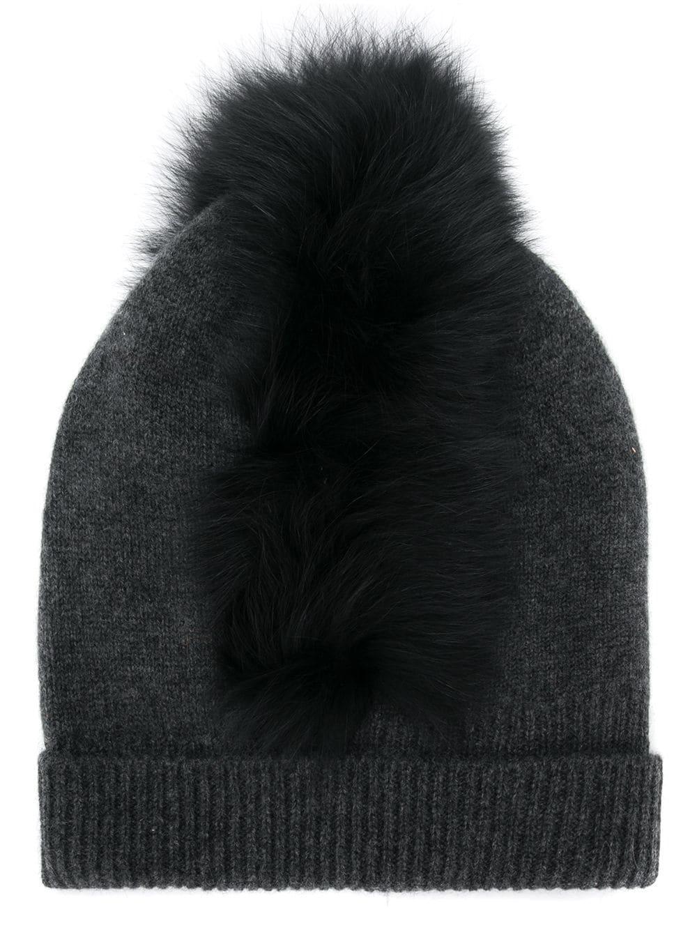 fe25a97507e Charlotte Simone Mo Mohawk Cashmere Beanie With Genuine Fox Fur Trim - Grey