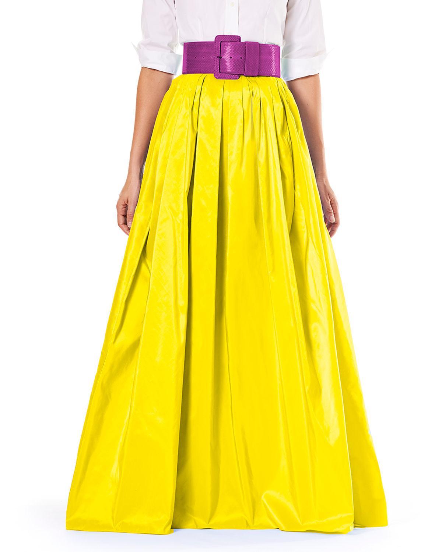 754ccd6c74 Carolina Herrera Belted Pleated Silk-Satin Maxi Skirt In Yellow ...