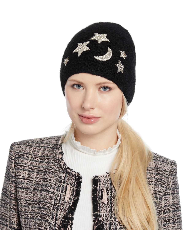 afe76349d3cb15 Jennifer Behr Galexia Stars & Moon Embellished Beanie Hat In Black ...