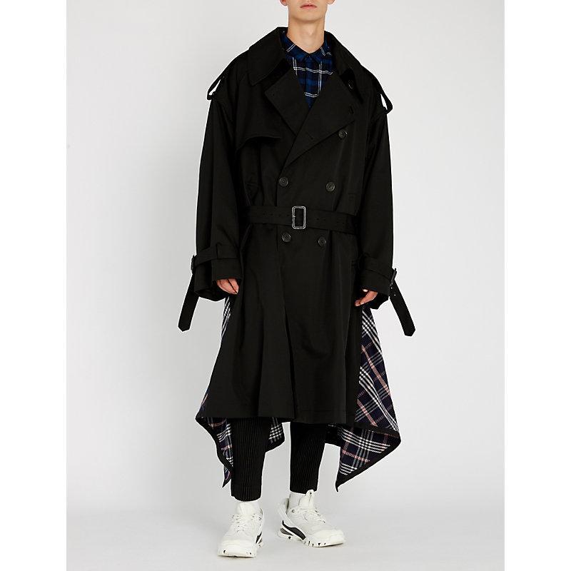 Juun.J Checked Wool Coat In Black