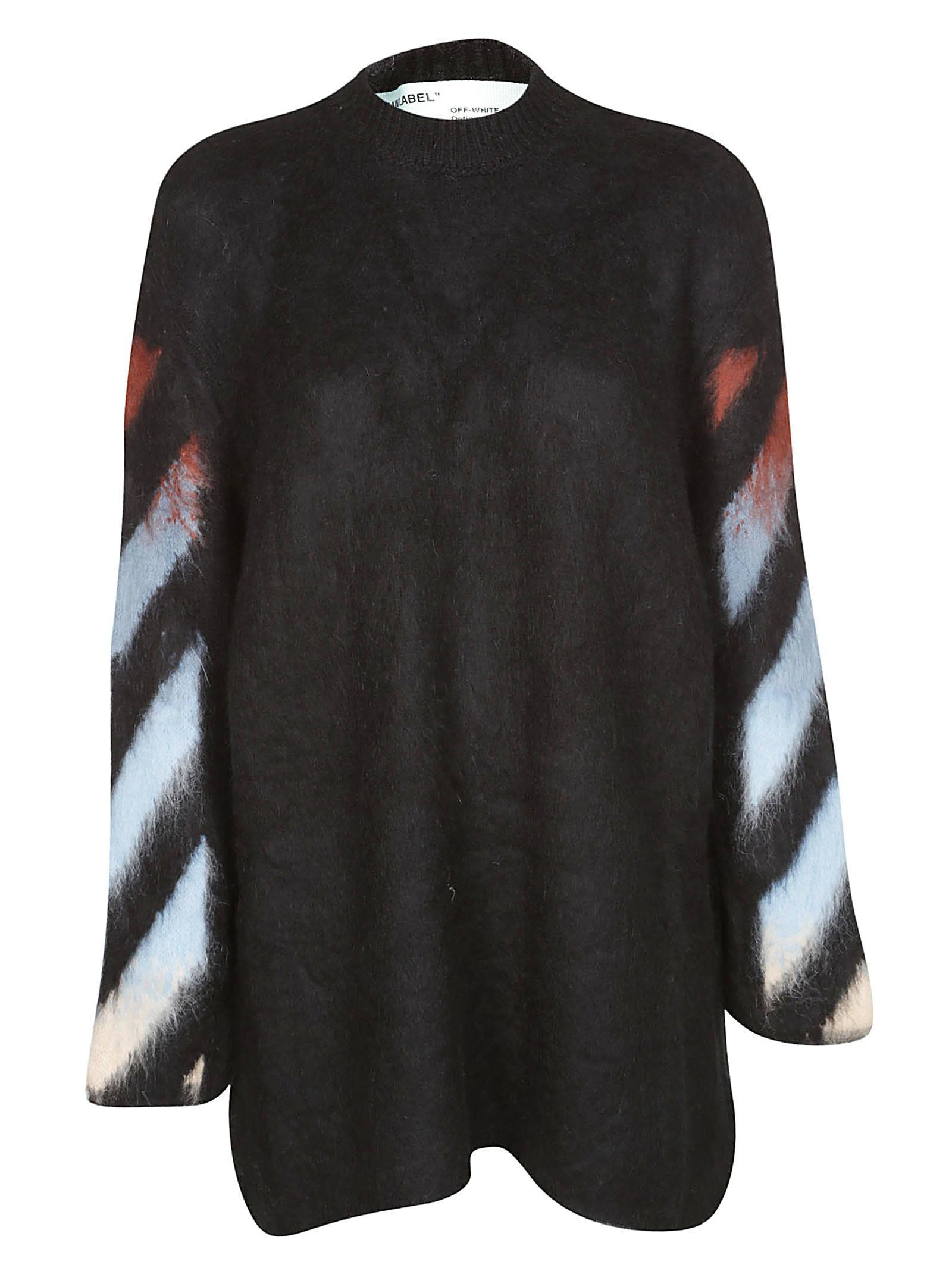 fa5455798c11be Off-White Diagonal-Print Mohair Intarsia Sweater In Black | ModeSens