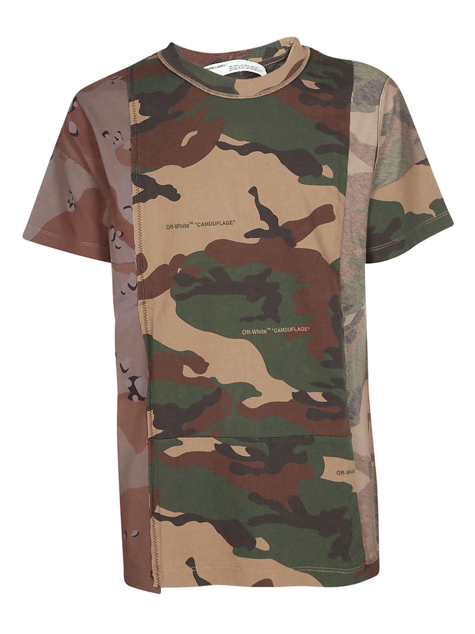 5b1fce3b0260 Off-White Deconstructed Camouflage-Print Cotton-Jersey T-Shirt - Army Green