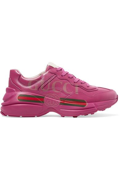 Gucci Rhyton Logo-print Leather Sneakers In Pink