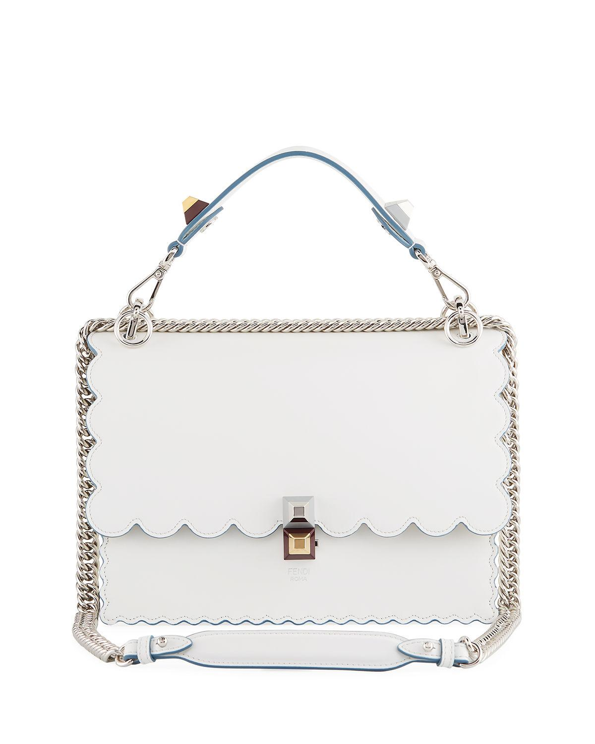 c32d13406fa Fendi Kan I Regular Leather Scalloped Shoulder Bag, White | ModeSens
