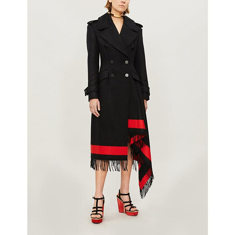 Alexander Mcqueen Double-breasted Wool-cashmere Coat W/ Striped Fringe Trim In Black