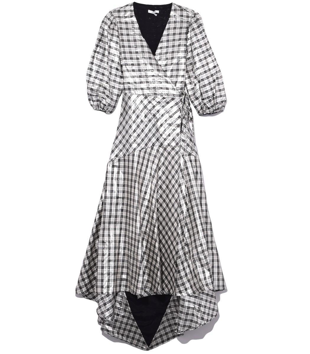 cb8e4f0c Ganni Silver Check Lagarde Metallic Silk-Blend Dress   ModeSens