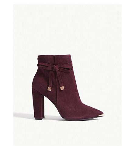 6817d998f613 Ted Baker Burgundy Suede Heeled Ankle Boots With Bow - Red