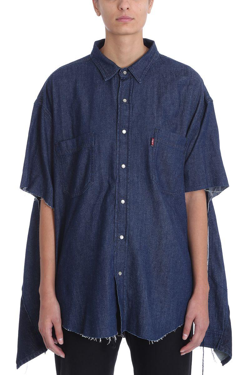 be6bdf37aaf Vetements Oversized Denim Shirt With Cuts In Blue