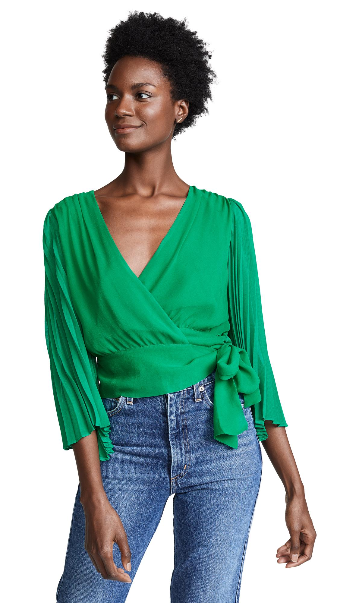 584914a5931ebe Alice And Olivia Alice + Olivia Bray Pleated-Sleeve Silk Wrap Top In Green